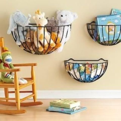 metal baskets can  be hung for holding various things