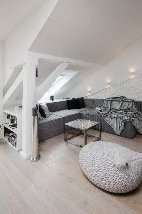 modern grey and white attic living room