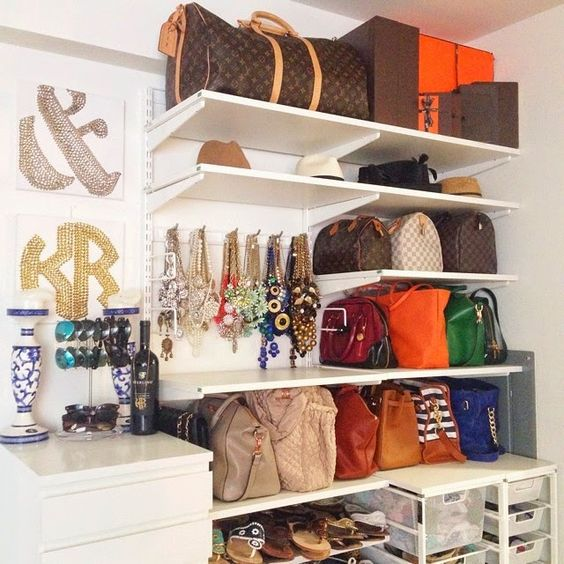 open shelving works perfect for storing bags