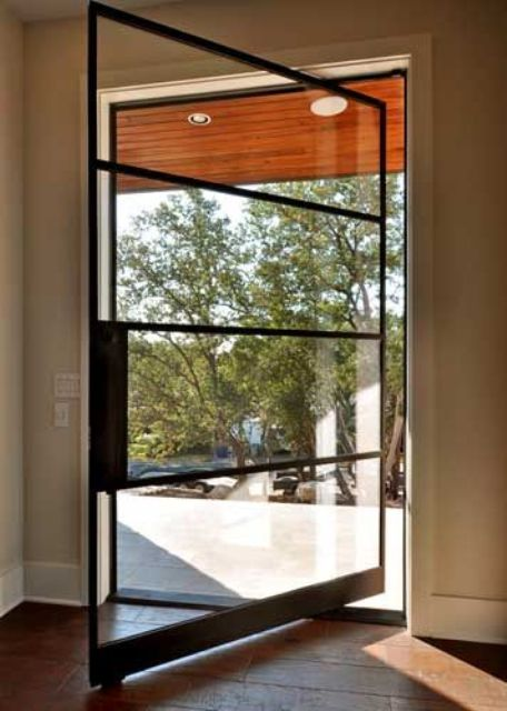 pivot black steel framed door with glass