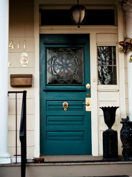 vintage-inspired teal glass front door