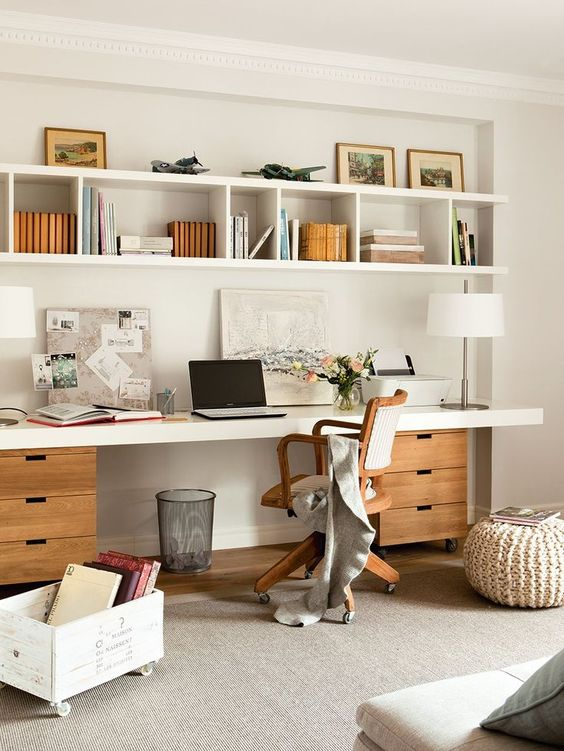 ideas for home office. Wall-mounted Open Shelf With Various Compartment To Hang Above The Desk Ideas For Home Office N
