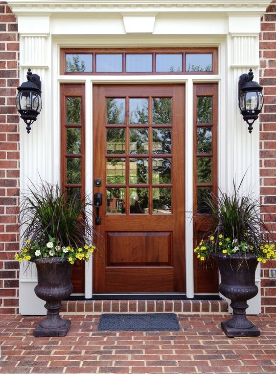 Wooden Stained Gl Front Door With Sidelights