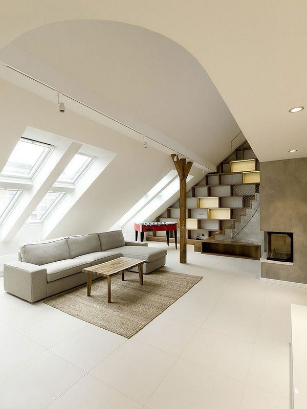 13 modern attic living room in earthy tones