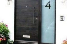13 modern dark wooden door with an etched glass sidelight