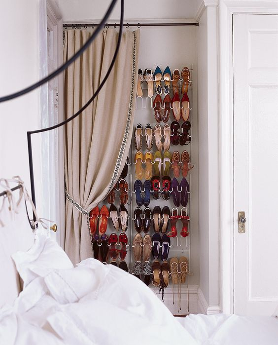 shoe shelf in the bedroom corner