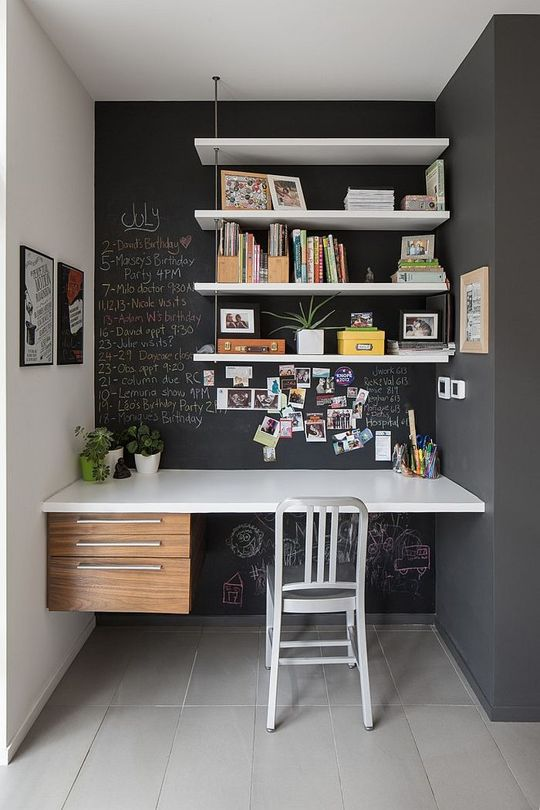 white shelves against a chalkboard wall