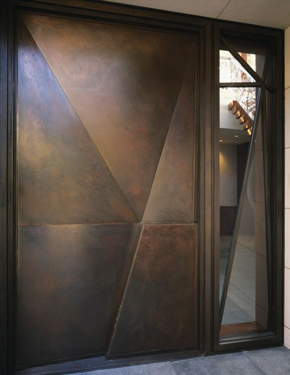 geometric modern dark metal doors