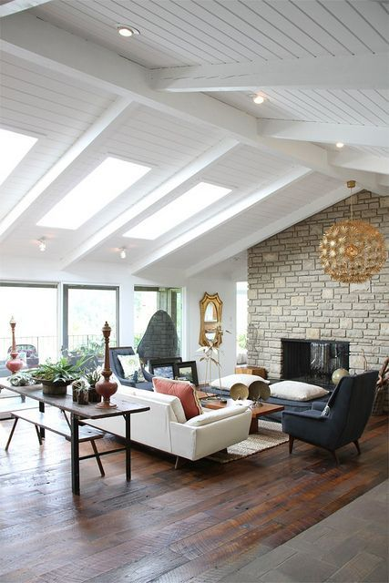 mid-century modern attic living room with boho touches