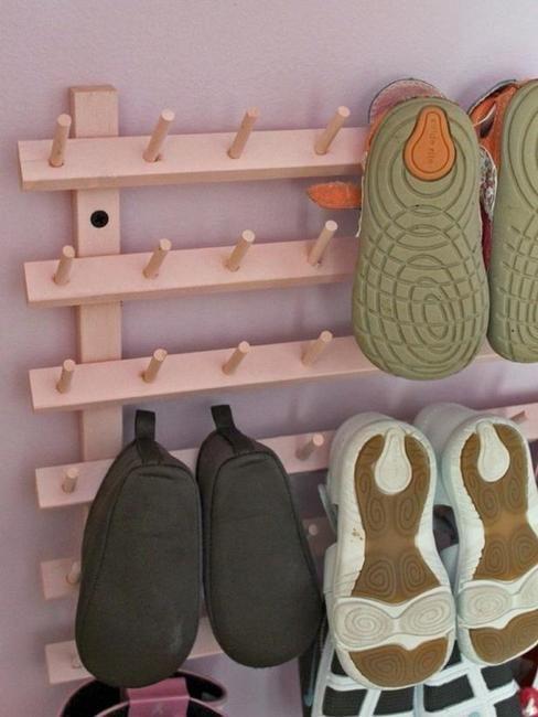 wooden shelf for hanging kids' shoes