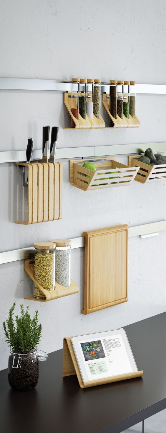 IKEA Rimforsa  steel rails with bamboo holders
