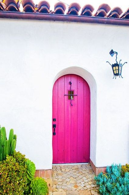bright pink wooden door