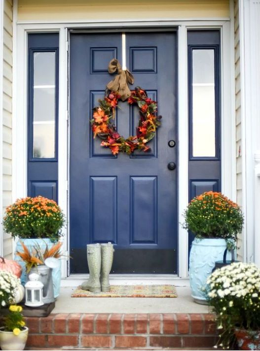 white front door with sidelights. Dazzling Blue Front Door And Sidelights Framed In White With
