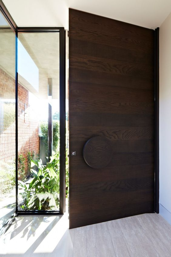 modern dark wood entry door with a glass sidelight