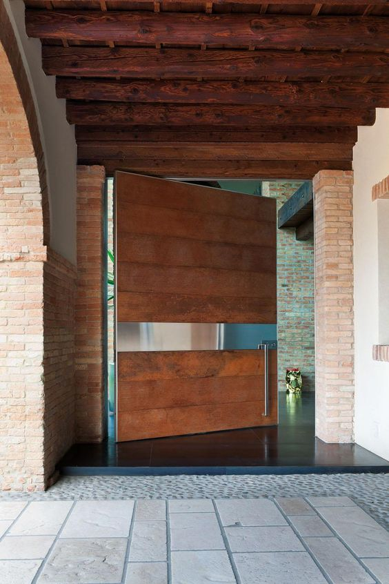 Picture of modern wooden oversized pivot door for Oversized exterior doors