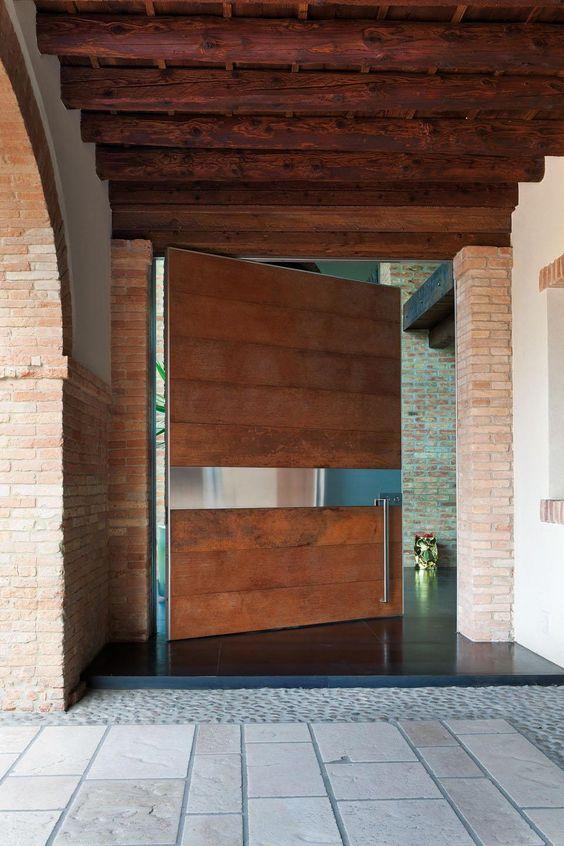 modern wooden oversized pivot door