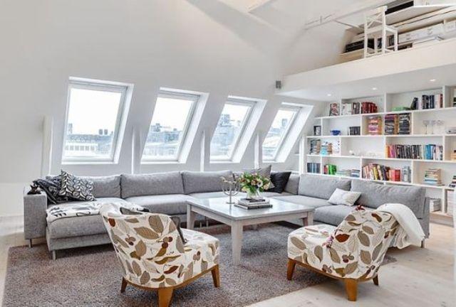 16 modern attic living room full of light