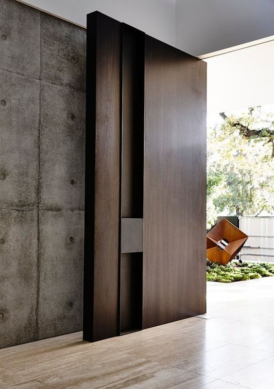 modern oversized dark stain wooden door