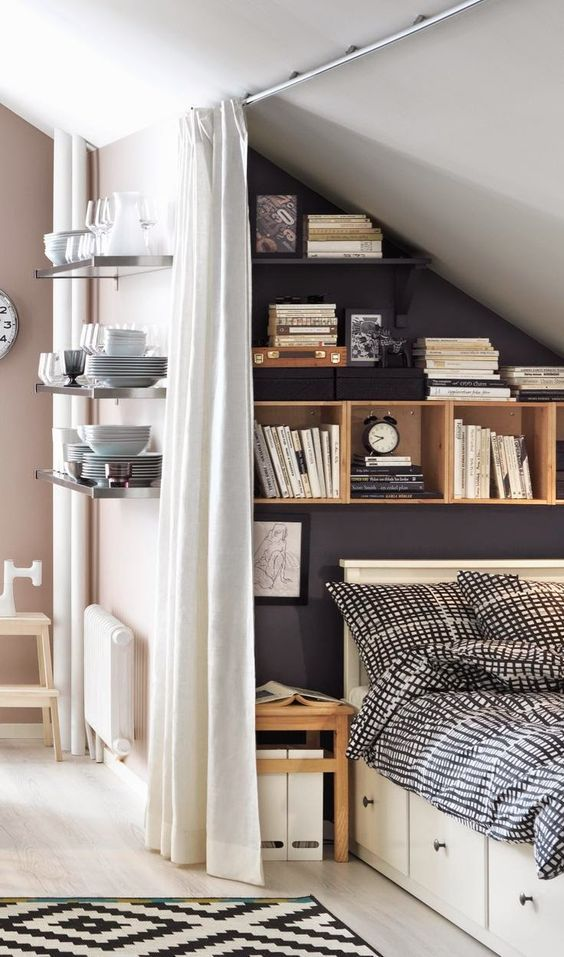 wooden cubbies mixed with black shelves