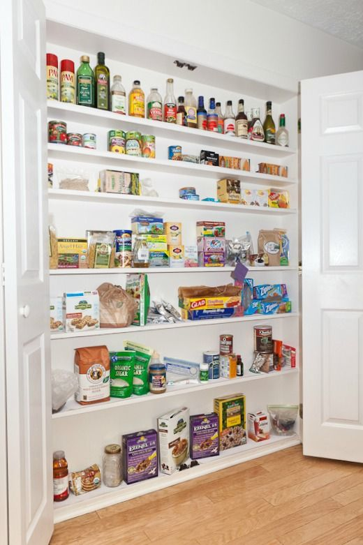 shallow in-wall pantry is ideal for a small kitchen