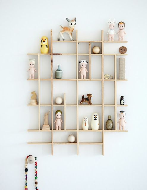 wooden planks shelving unit