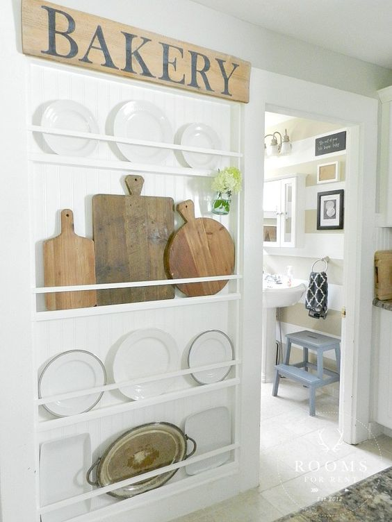 ledges for displaying dishes and plates