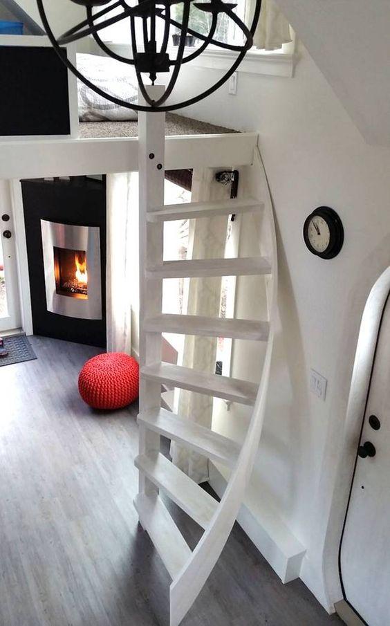 minimalist white metal staircase