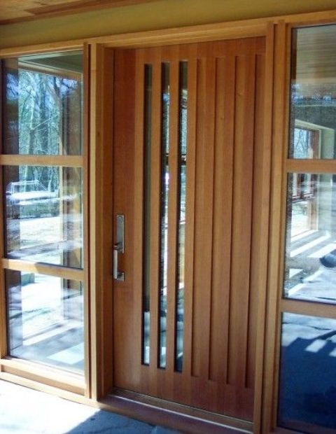 Picture of modern wood front door with vertical glass panes Modern glass exterior doors