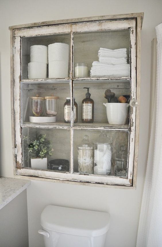 Spectacular shabby chic niche glass bathroom built in cabinet