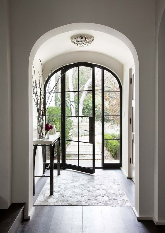 black metal and glass front doors