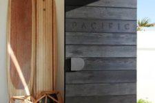 18 black timber planks front door