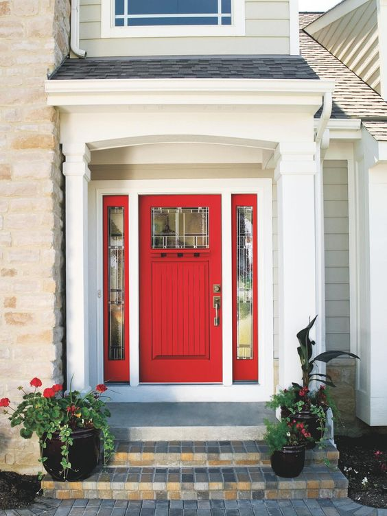 Bold Red Door With Red Framed Sidelights