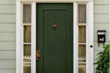 18 dark green door with white sidelights