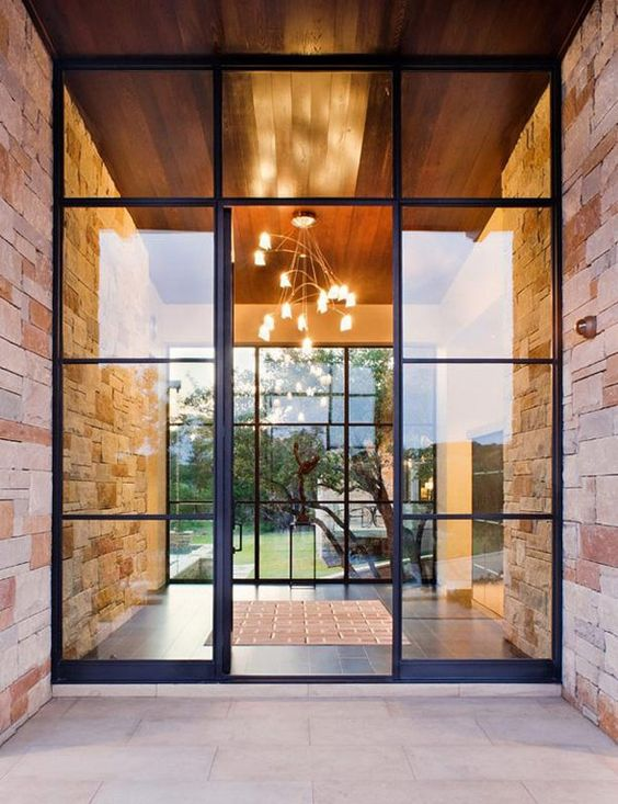 28 beautiful glass front doors for your entry shelterness for Glass front house plans