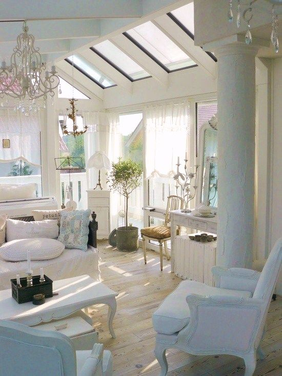 shabby chic attic living room with attic windows