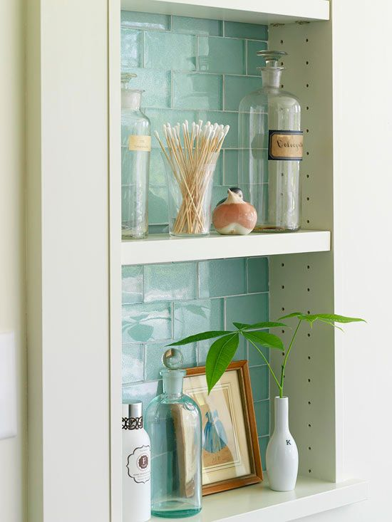 Fabulous simple niche bathroom shelving unit with tiles inside