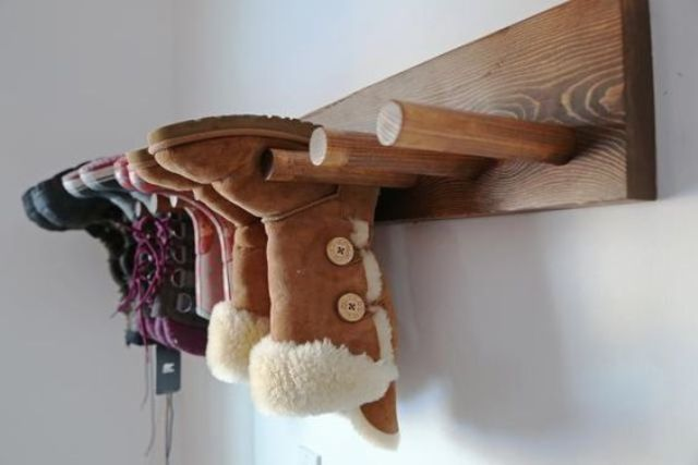 wooden pole boot rack