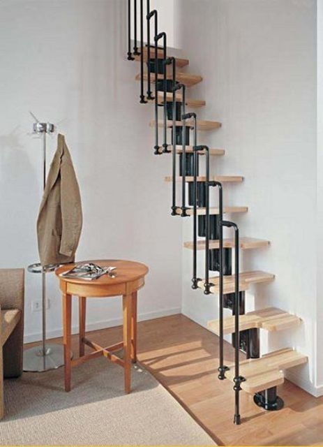 Great Compact Stair System With Blackened Steel Brackets And Wood Steps