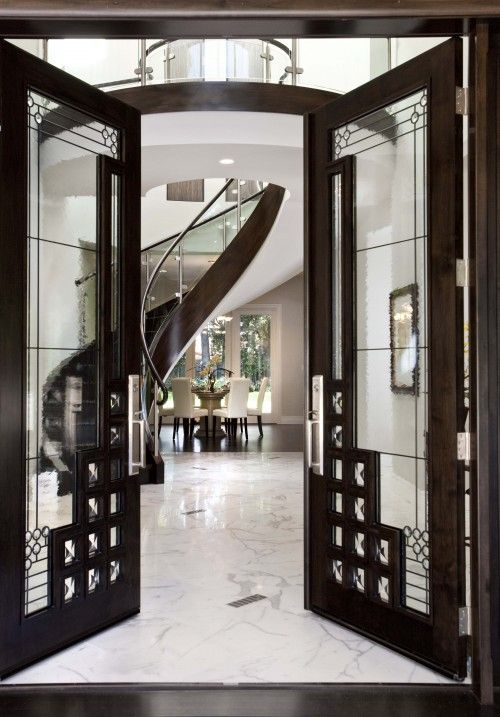 dark wood and glass doors with metal elements