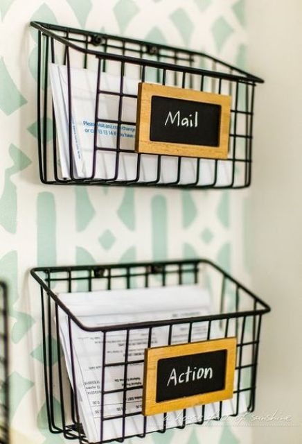 industrial wire baskets for mail and papers