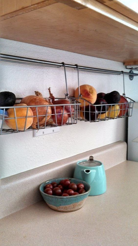 food could be stored in hanging or rails baskets