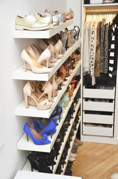 you can always use simple IKEA Lack shelves to store shoes right on a wall