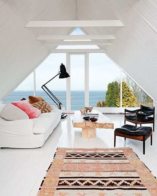 small seaside attic living room with a view