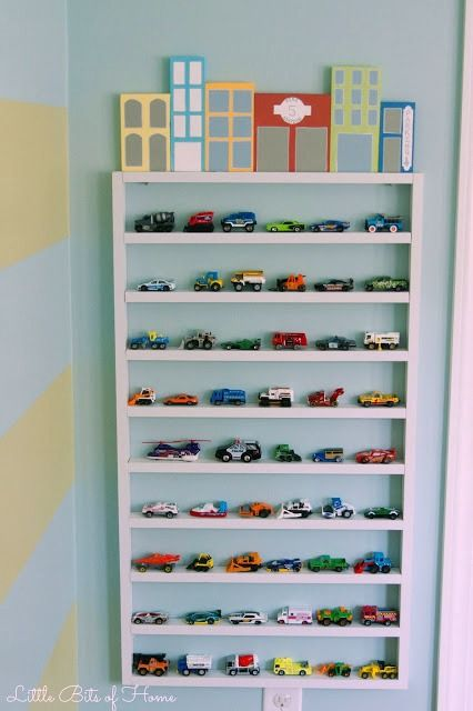Toy Car Storage Shelf Wall Garage With Wood Block Buildings