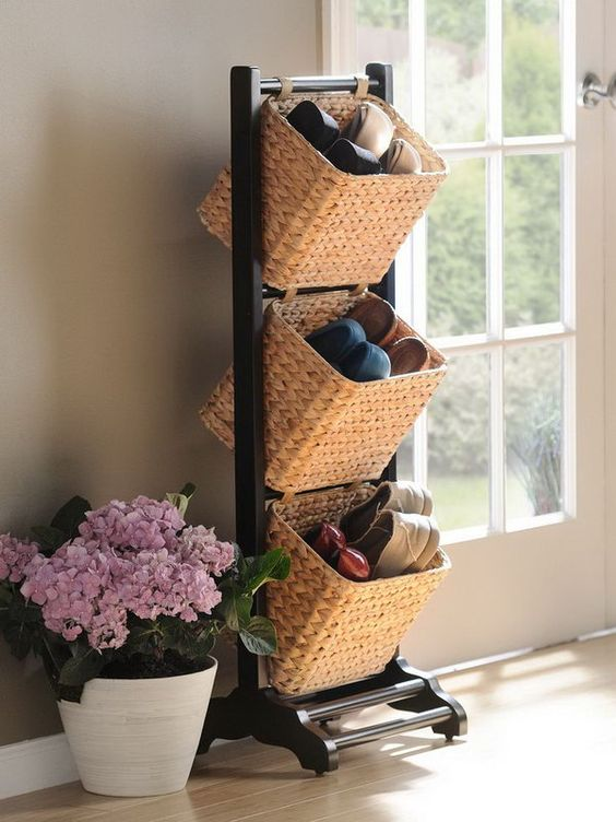 basket tower for shoes storage