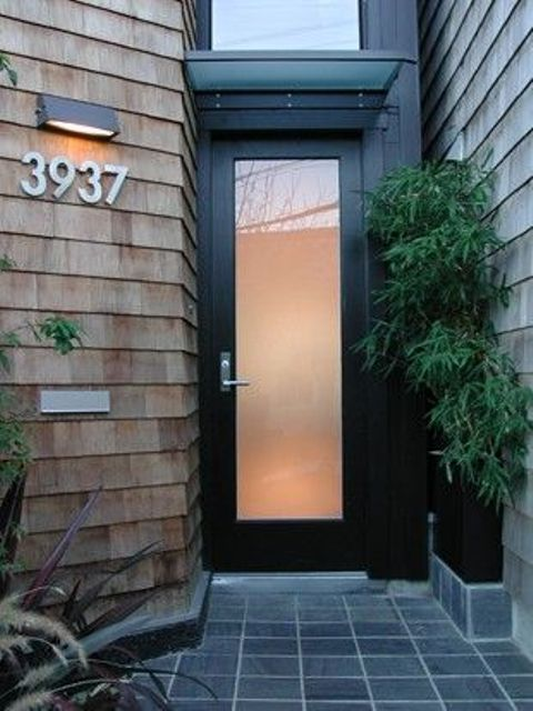 modern black wood and glass front door