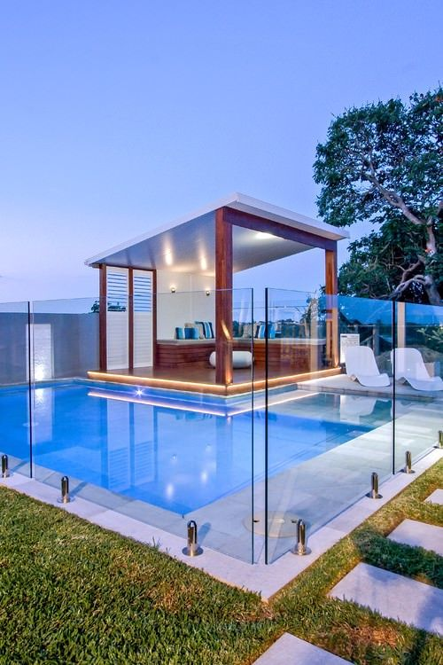 screened pergola floating in a pool