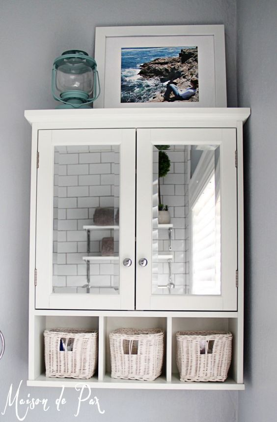 simple white cabinet with cubbies