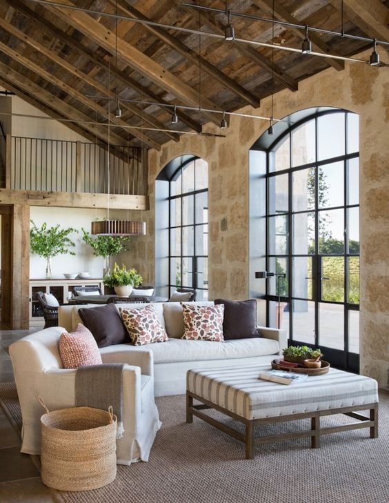 20 traditional living room in a barn attic space