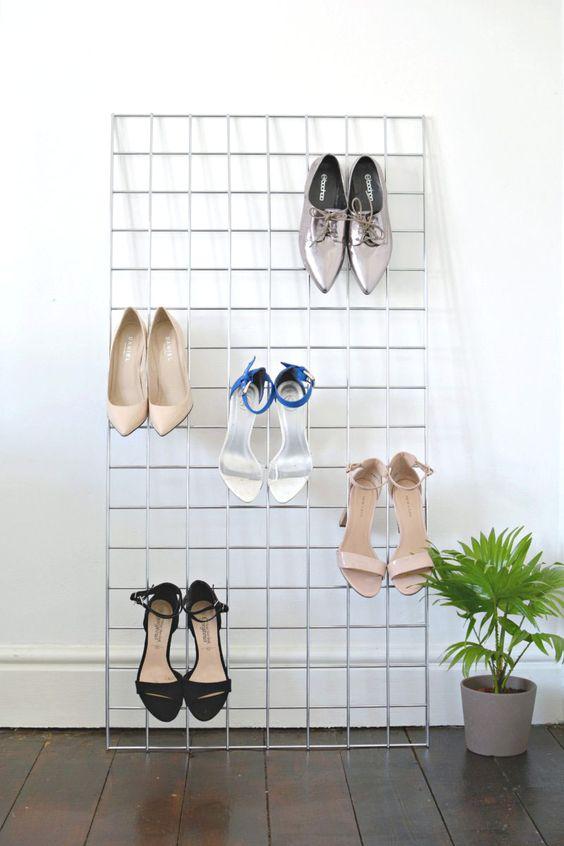grid shoe storage display